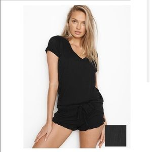 Victoria Secret Black Ribbed Ruffle Sleep Short